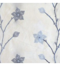 Roya blue cream color floral twig embroidery pattern flower natural cotton buds cotton finished sheer curtain