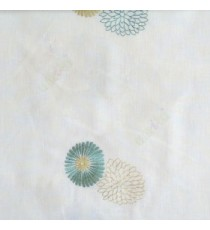 Green cream beige color marigold flower floral pattern cotton finished sheer curtain