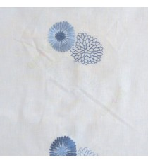 Blue cream color marigold flower floral pattern cotton finished sheer curtain