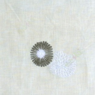 Brown cream white color marigold flower floral pattern cotton finished sheer curtain