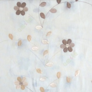Cream brown beige color beautiful flower with leaf on thin long stem embroidery cotton finished sheer curtain