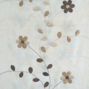 Brown cream beige color beautiful flower with leaf on thin long stem embroidery cotton finished sheer curtain