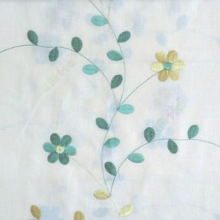 Green cream yellow color beautiful flower with leaf on thin long stem embroidery cotton finished sheer curtain