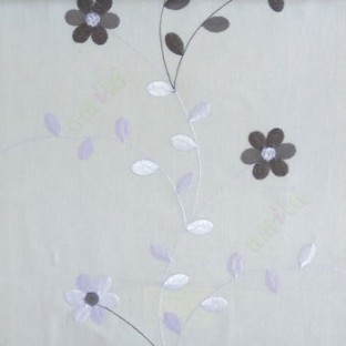 Grey cream color beautiful flower with leaf on thin long stem embroidery cotton finished sheer curtain