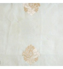 Cream beige color small damask pattern embroidery cotton finished sheer curtain