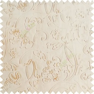 Beige color beautiful floral design high compressed  embossed patterns carved finished surface texture designs horizontal lines  polyester main curtain fabric