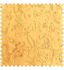Gold color beautiful floral design high compressed  embossed patterns carved finished surface texture designs horizontal lines  polyester main curtain fabric