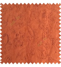 Dark copper brown color beautiful floral design high compressed  embossed patterns carved finished surface texture designs horizontal lines  polyester main curtain fabric