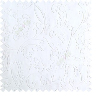 Pure white color beautiful floral design high compressed  embossed patterns carved finished surface texture designs horizontal lines  polyester main curtain fabric
