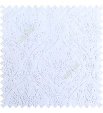 Pure white color Traditional damask design texture finished embossed patterns clear design polka dots swirls flower horizontal lines  polyester main curtain fabric