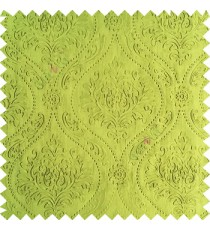 Green color Traditional damask design texture finished embossed patterns clear design polka dots swirls flower horizontal lines  polyester main curtain fabric