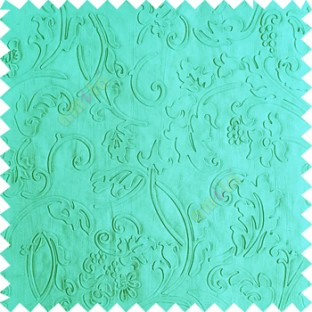 Blue color beautiful floral design high compressed  embossed patterns carved finished surface texture designs horizontal lines  polyester main curtain fabric