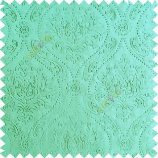 Blue color Traditional damask design texture finished embossed patterns clear design polka dots swirls flower horizontal lines  polyester main curtain fabric