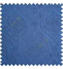 Royal blue color Traditional damask design texture finished embossed patterns clear design polka dots swirls flower horizontal lines  polyester main curtain fabric