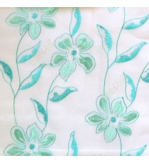 Beautiful aqua blue flower long stem support leaf floral design white background sheer curtain