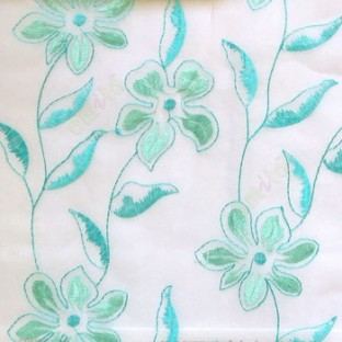 Beautiful aqua blue flower long stem support leaf floral design white background sheer curtain