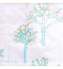 Aqua blue color tree flower oval shaped embroidery tree pattern white background sheer curtain