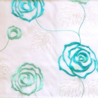 Aqua blue color big embroidery rose pattern with leaf and buds connecting with each other in white background sheer curtain