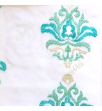 Aqua blue and beige color traditional embroidery damask pattern in white background sheer curtain