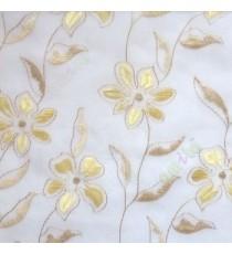 Beige cream flower long stem support leaf floral design cream background sheer curtain
