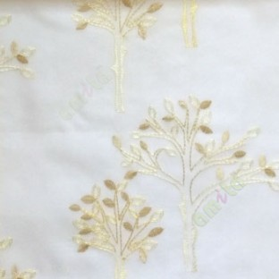 Beige cream color tree flower oval shaped embroidery tree pattern cream background sheer curtain
