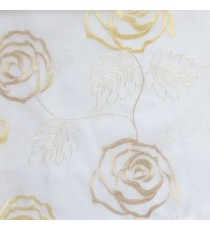 Beige cream color big embroidery rose pattern with leaf and buds connecting with each other in cream background sheer curtain