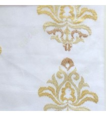 Beige cream color traditional embroidery damask pattern in cream background sheer curtain