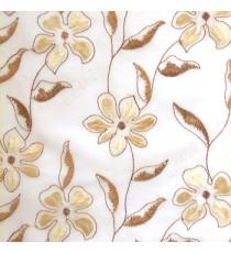 Brown beige flower long stem support leaf floral design cream background sheer curtain