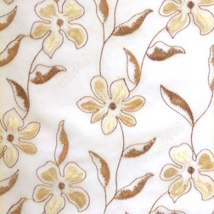 Brown beige flower long stem support leaf floral design cream background sheer curtain