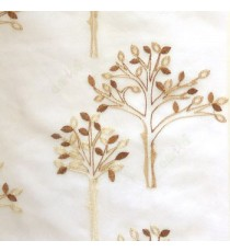 Brown Beige color tree flower oval shaped embroidery tree pattern cream background sheer curtain