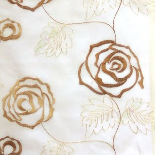 Brown beige color big embroidery rose pattern with leaf and buds connecting with each other in cream background sheer curtain