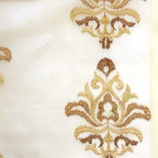 Brown beige color traditional embroidery damask pattern in cream background sheer curtain