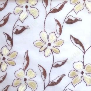Dark brown beige flower long stem support leaf floral design cream background sheer curtain