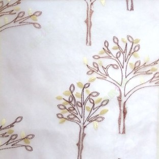 Dark brown Beige color tree flower oval shaped embroidery tree pattern cream background sheer curtain