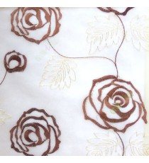 Dark brown beige color big embroidery rose pattern with leaf and buds connecting with each other in cream background sheer curtain