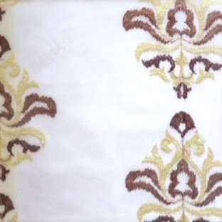 Dark brown beige color traditional embroidery damask pattern in cream background sheer curtain