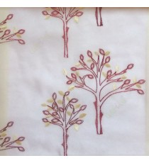 Maroon red color tree flower oval shaped embroidery tree pattern white background sheer curtain