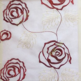 Maroon red color big embroidery rose pattern with leaf and buds connecting with each other in white background sheer curtain