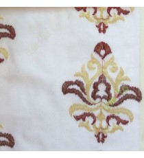 Maroon red color traditional embroidery damask pattern in white background sheer curtain