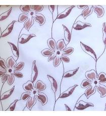 Purple flower long stem support leaf floral design white background sheer curtain