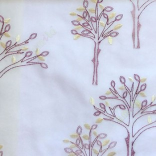 Purple color tree flower oval shaped embroidery tree pattern white background sheer curtain