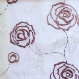 Purple color big embroidery rose pattern with leaf and buds connecting with each other in white background sheer curtain