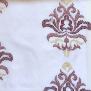 Purple beige color traditional embroidery damask pattern in white background sheer curtain