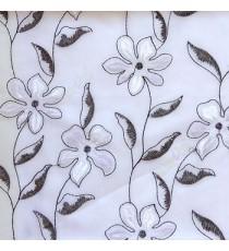 Black and white flower long stem support leaf floral design white background sheer curtain