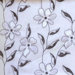Black and white flower long stem support leaf floral design white background sheer curtain