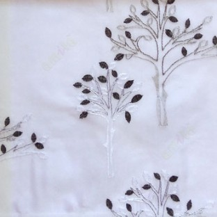 Black and white color tree flower oval shaped embroidery tree pattern white background sheer curtain