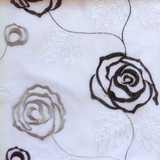 Black and white color big embroidery rose pattern with leaf and buds connecting with each other in white background sheer curtain