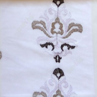 Black and white color traditional embroidery damask pattern in white background sheer curtain