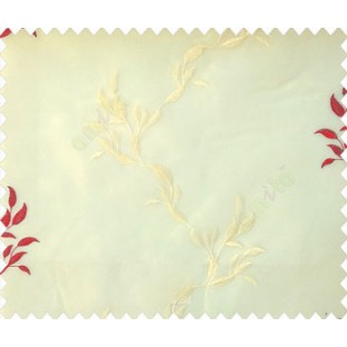Red beige color natural long leaf with bold stem embroidery polyester sheer curtain