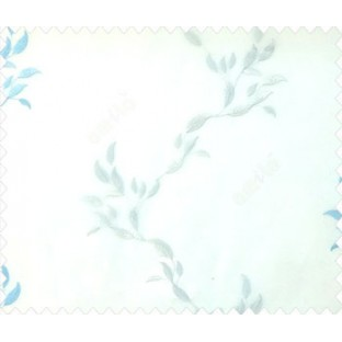 Blue white color vertical floral flowing garland leaf pattern embroidery polyster sheer curtain